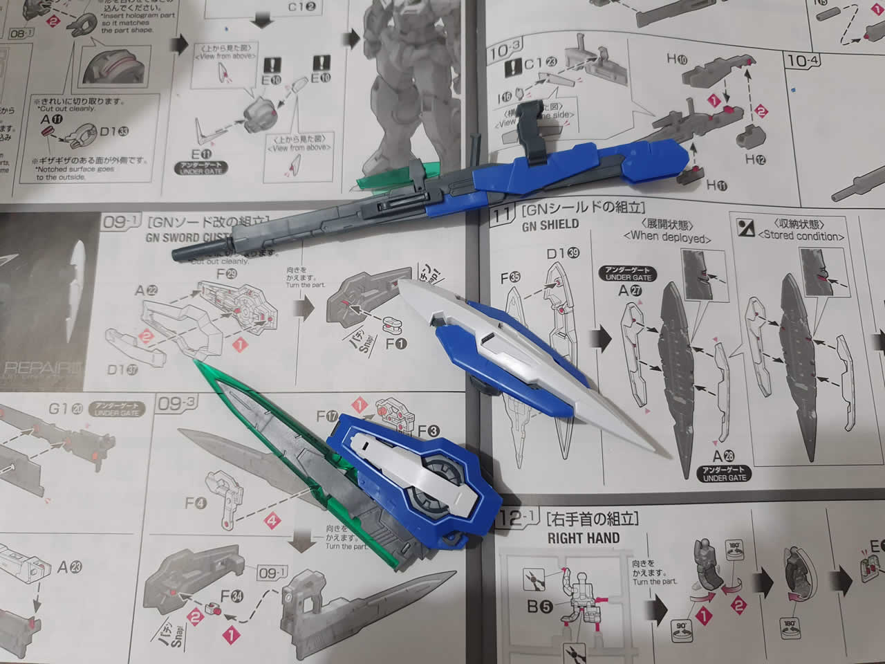 Exia Repair RG Assembled Weapons and Shield