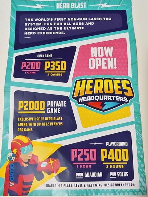 Heroes Headquarters rates