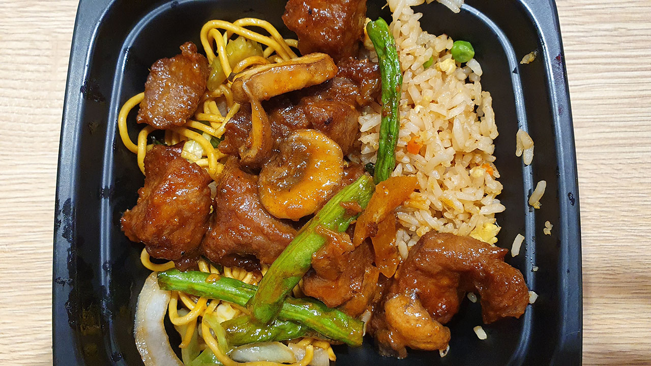 Panda Express Bowl Meal Size with 1 Entree and 1 side - You can mix two sides if you want to like shown here (195 pesos + 40 pesos premium entree)