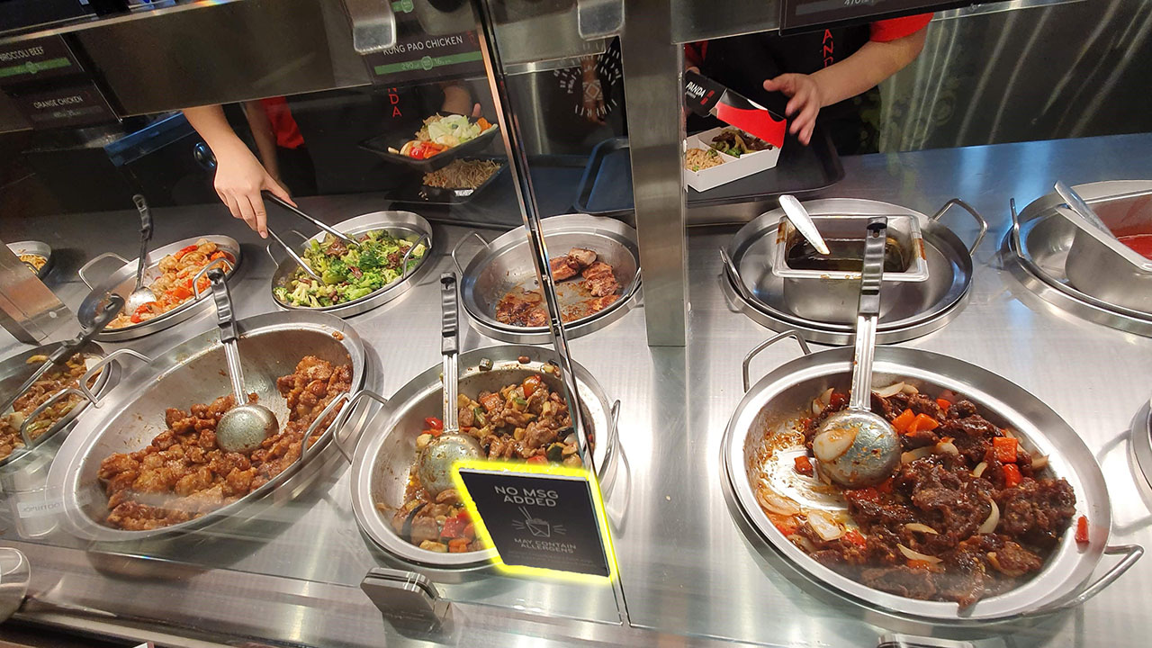 Panda Express Kitchen Food Selection - Panda Express claims that their food does not contain MSG.