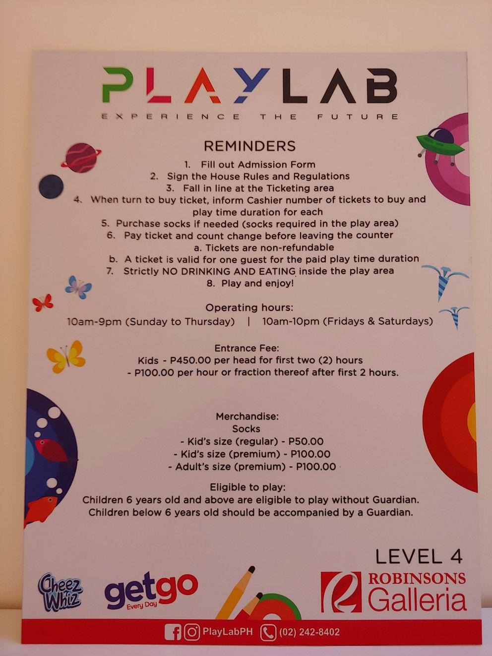 PlayLab Pricelist