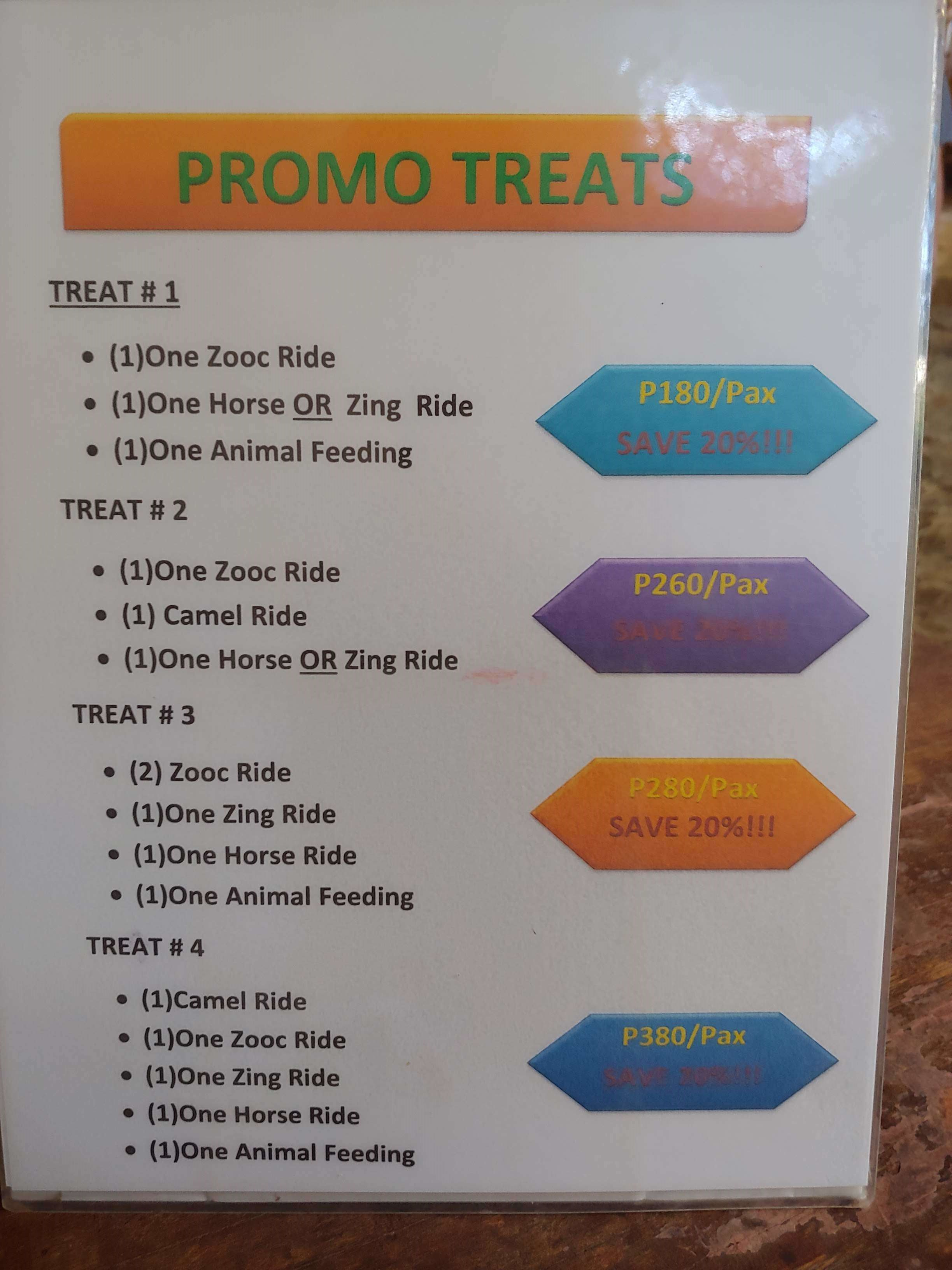 Zoocobia package treats rates per person